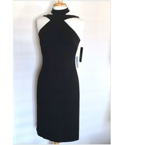 Bebe NWT black strappy cocktail dress size 6 LBD